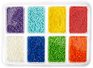 Amazon Com Perler Beads Rainbow Color Mini Beads Tray For Kids