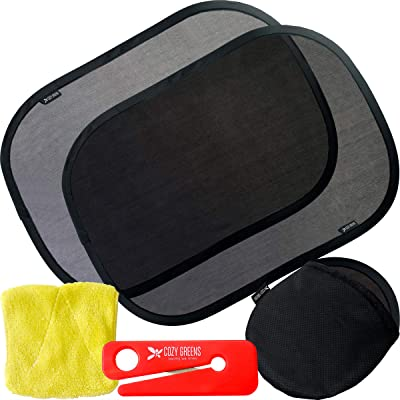 """COZY GREENS Car Window Shade for Baby for Side Windows for Vehicle (3 Pack) - 19""""x12.5"""" Car Shade - 80 GSM w/ 15s Film - Full UV Protection from Sun, Glare and UV Rays - Window Shade Baby: Automotive"""