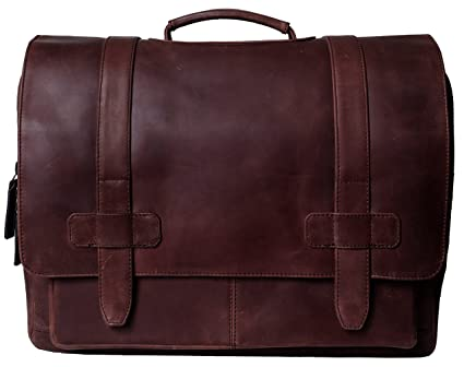 dc2c15476b Amazon.com  Full-Grain Leather Messenger Laptop Bag Briefcase for ...