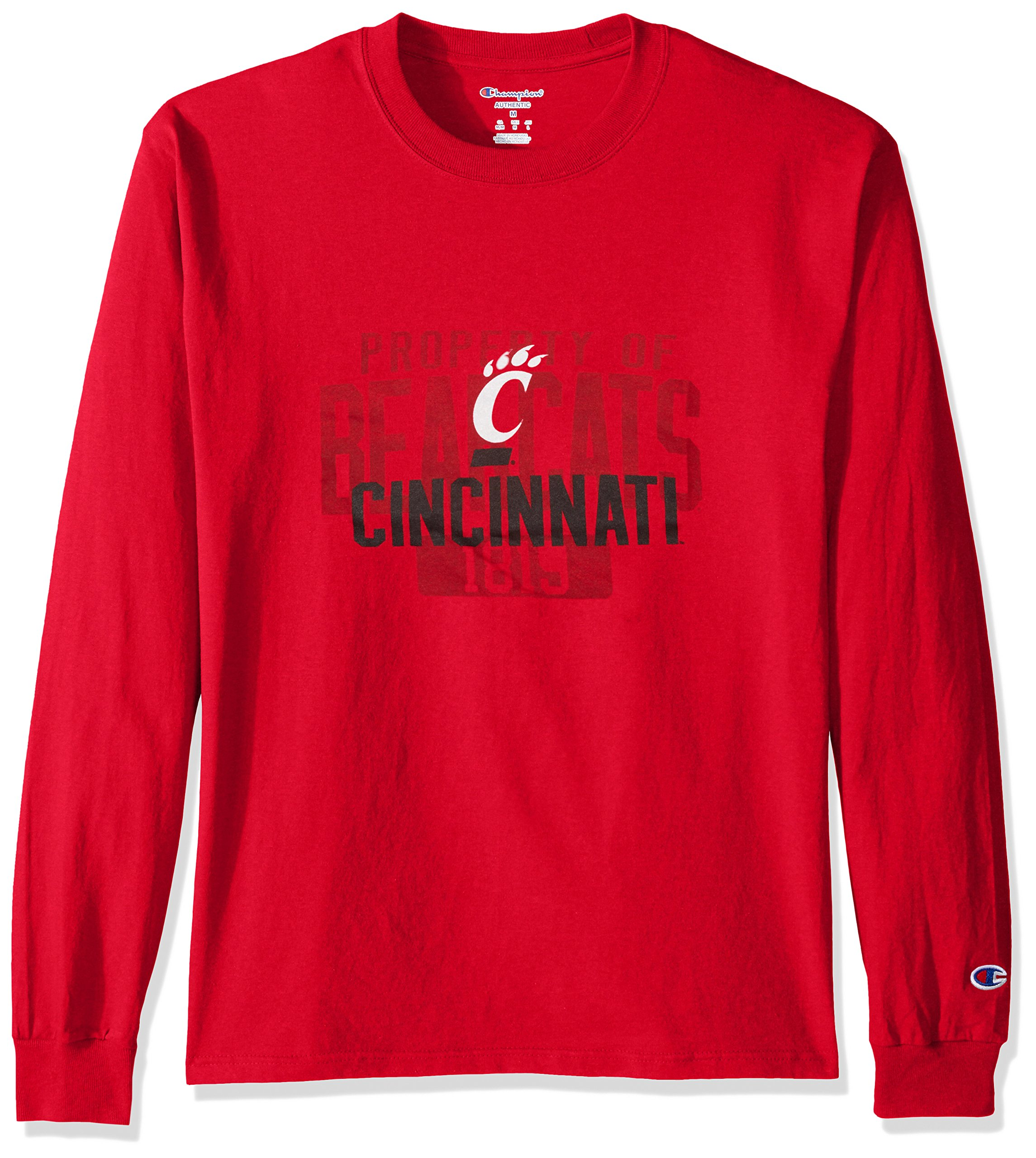 Champion NCAA Men's Long Sleeve Lightweight T-shirt Officially Licensed 100% Cotton Tagless Tee Cincinnati Bearcats Medium