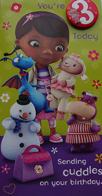Amazon Disney Doc Mcstuffins Age 3 Birthday Card Health