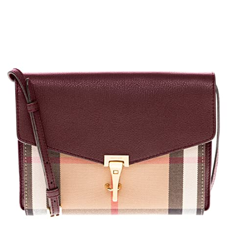 Burberry Small Leather House Check Crossbody Bag - Mahogany Red  Amazon.ca   Sports   Outdoors c2ee84f8aa67b