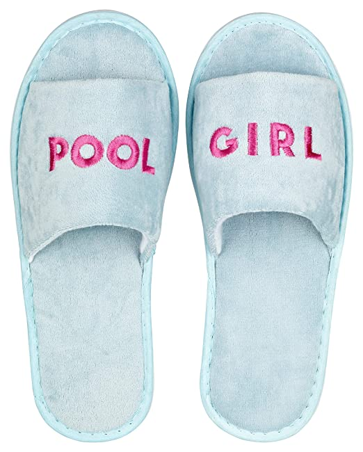 likalla Wellness-Slipper offen mit pinker POOL GIRL Bestickung in hellblau,  1 Paar 9209c86055