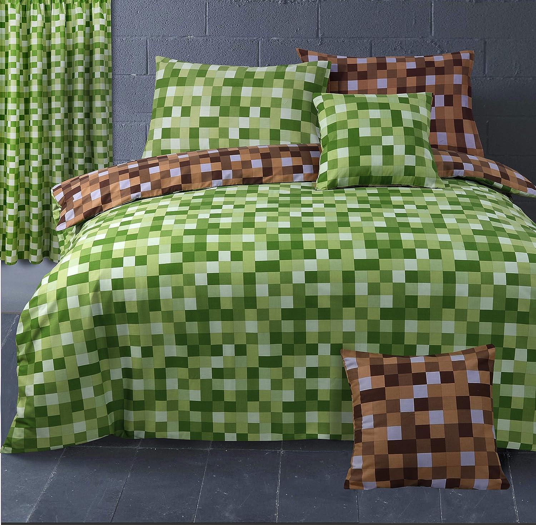 HBS, parure de lit pixel, housse de couette simple, parure de lit à carreaux pixels réversible, avec taie d'oreiller, coloris vert et marron avec taie d' oreiller