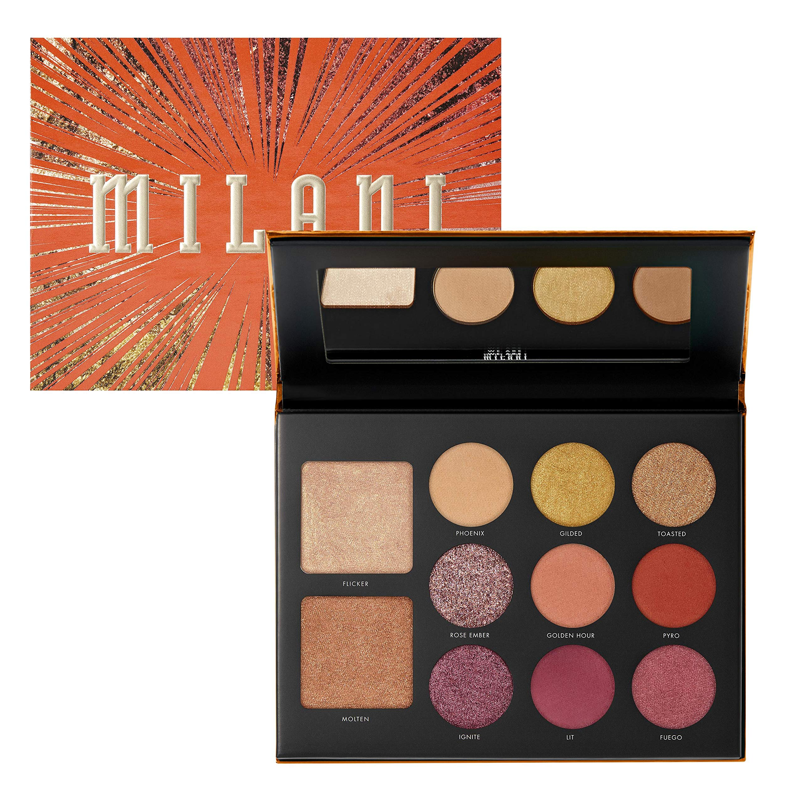 Milani Gilded Ember Hyper-Pigmented Face & Eyeshadow Palette (5.7 Oz.) 9 Cruelty-Free Eyeshadows & 2 Highlighters - Enhance Eyes & Contour Face with Matte & Shimmer Colors