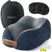 Almohada de Viaje Cuello Espuma Memoria: Set con máscara de Ojos + Tapones + Bolsa de Transporte   Travel Pillow Comoda…