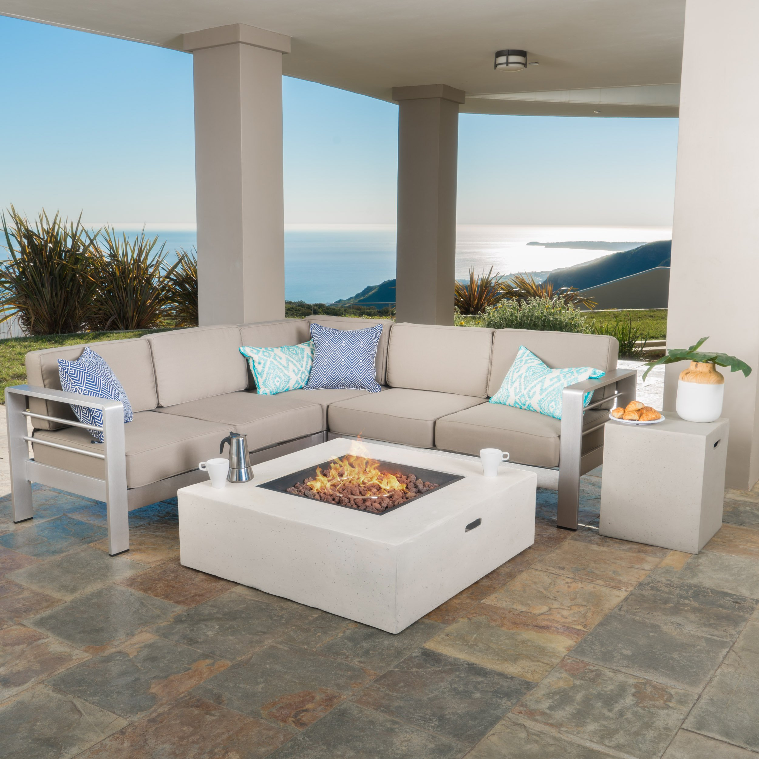 Crested Bay Outdoor Aluminum Framed Sectional Sofa Set with Light Grey Fire Table (Khaki with Light Grey Fire Table) by Great Deal Furniture