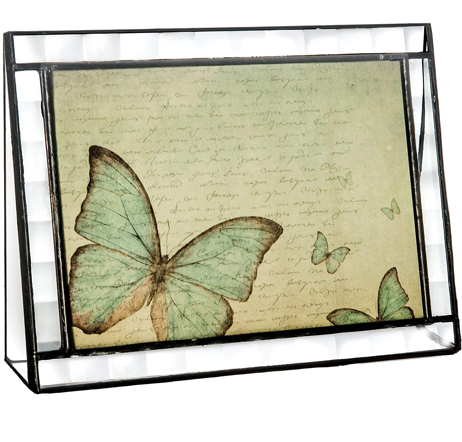 J Devlin Pic 345-57H Clear Glass Picture Frame Tabletop 5 x 7 Horizontal Butterfly Keepsake Gift J Devlin Glass Art