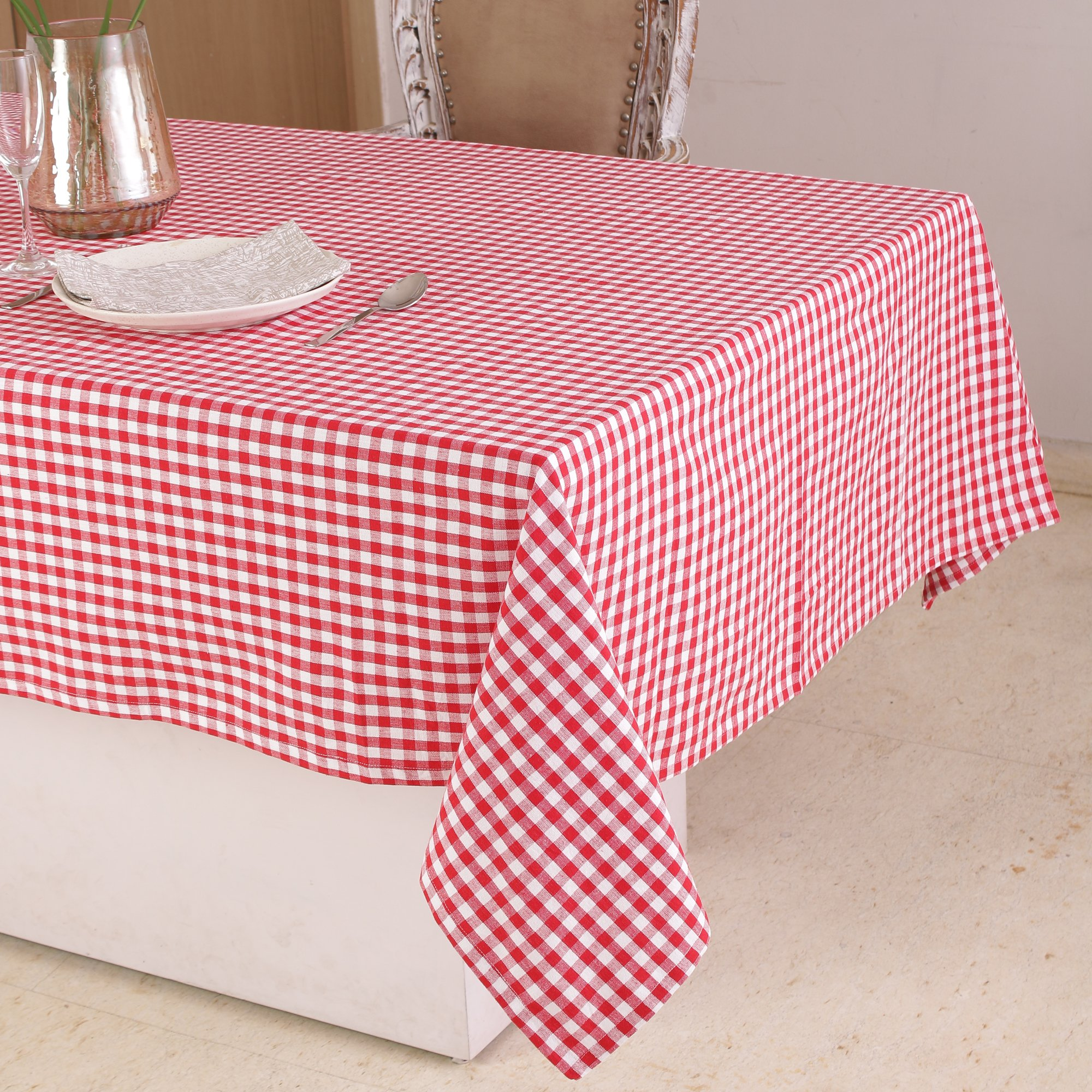 Cotton Square Table Cloth (52 x 52 Inches), Red & White Check - Perfect For Spring, Summer, Holidays - Christmas And For Everyday Use