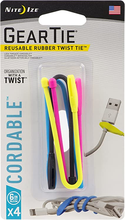 """Nite Ize Gear Tie Cordable Twist Tie 6/"""" Black Cord Organizers Cable 3-Pack of 2"""