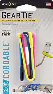product image for Nite Ize Gear Tie Cordable, The Orginal Reusable Rubber Twist Tie with Stretch-Loop For Cord Management + Storage, 6-Inch, Assorted Colors, 4 Pack, Made in the USA