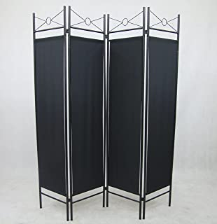 4 Panel Black Color Metal And Woven Fabric Room Divider With Two Way  Hinges, By
