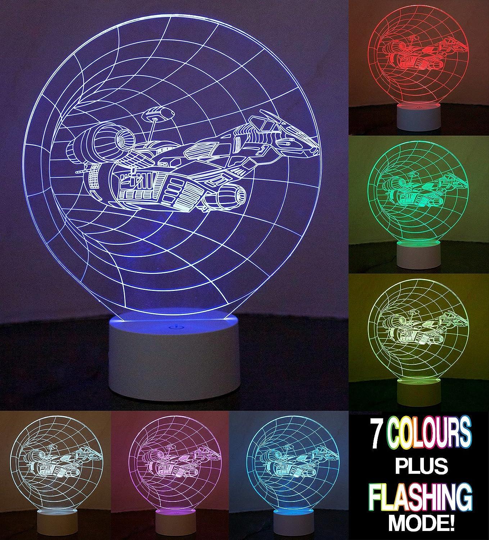 Optical Illusion 3D Spaceship Lamp: Amazon.co.uk: Lighting