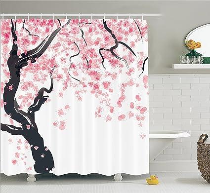 Amazon.com: House Decor Shower Curtain Set by Ambesonne, Japanese ...