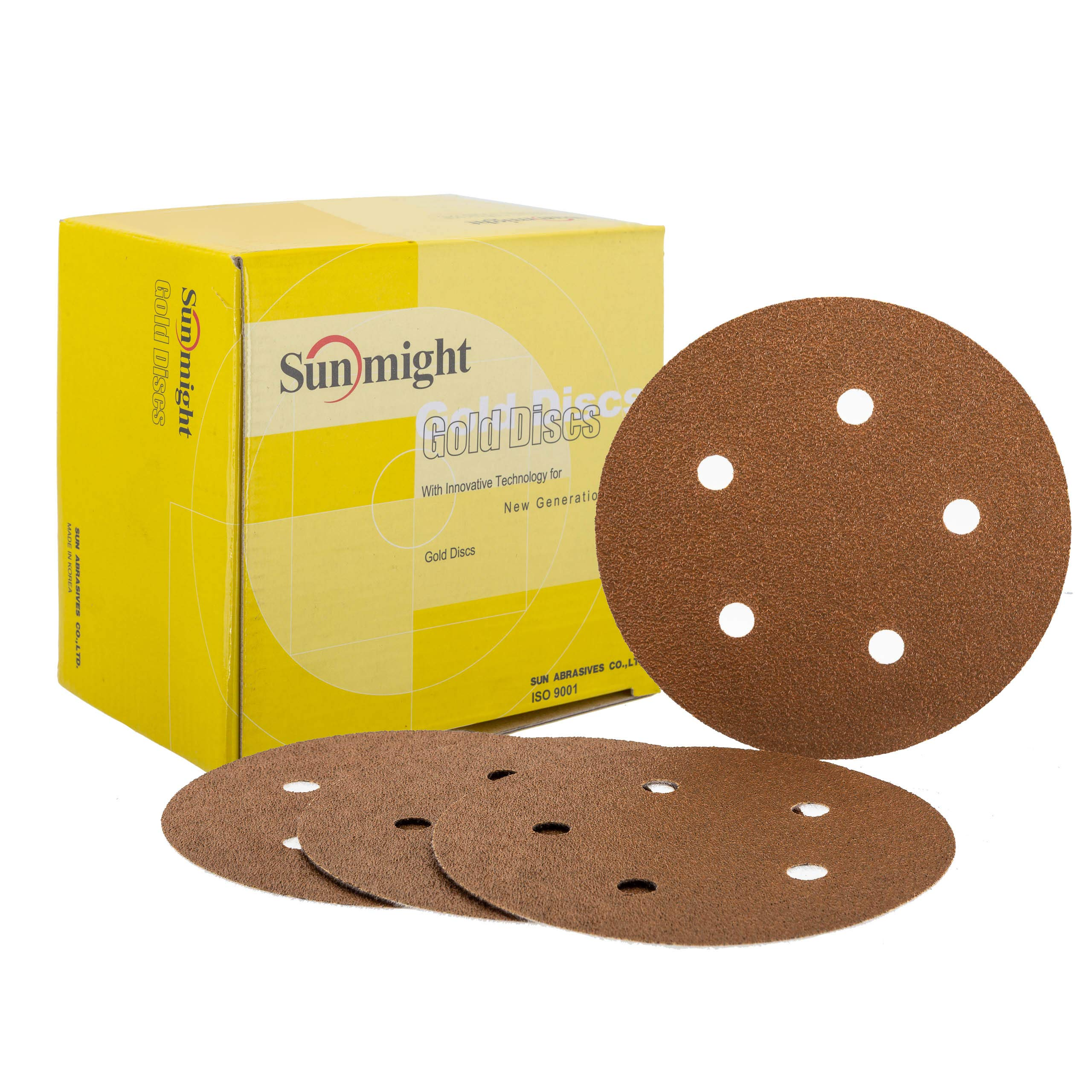 Sunmight 02806 1 Pack Velcro Disc Grit (Gold - 6'' 6 Hole 80)