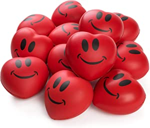 """Neliblu Heart Stress Balls - Valentines Day Red Hearts 3"""" Smile Face Squeeze Stress Relief Heart Shaped Balls; Fun Party Favors for Kids and Adults (1 Dozen)"""