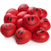"Neliblu Stress Balls - Red Hearts 3"" Smile Face Squeeze Stress Relief Heart Shaped Balls; Fun Party Favors for Kids and Adults (1 Dozen)"