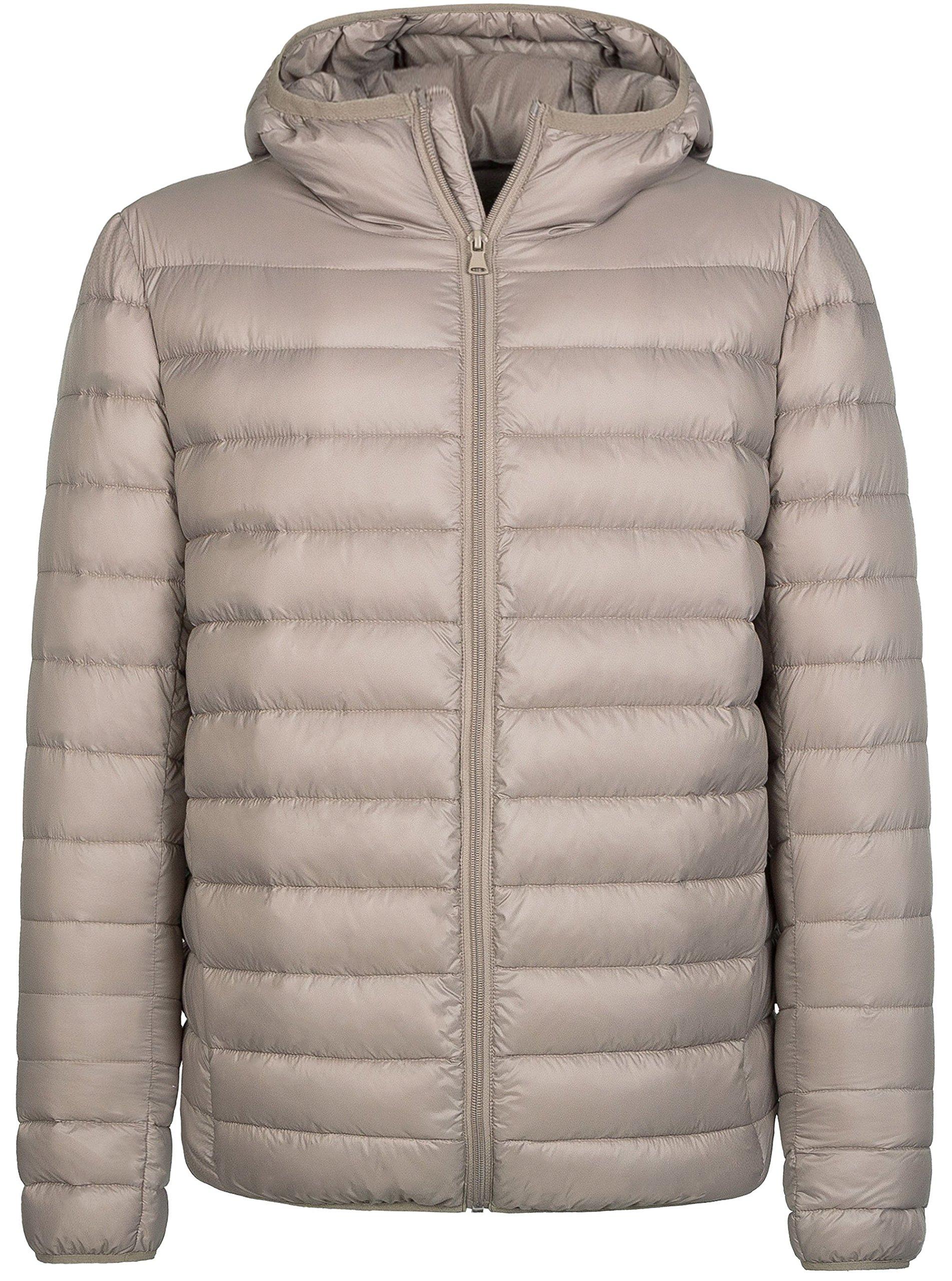 Wantdo Men's Hooded Packable Light Weight Down Jacket Small Khaki