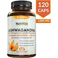 Ashwagandha 1300mg Made with Organic Ashwagandha Root Powder & Black Pepper Extract - 120 Capsules. 100% Pure Ashwagandha Supplement for Stress Relief, Anti-Anxiety & Adrenal, Mood & Thyroid Support