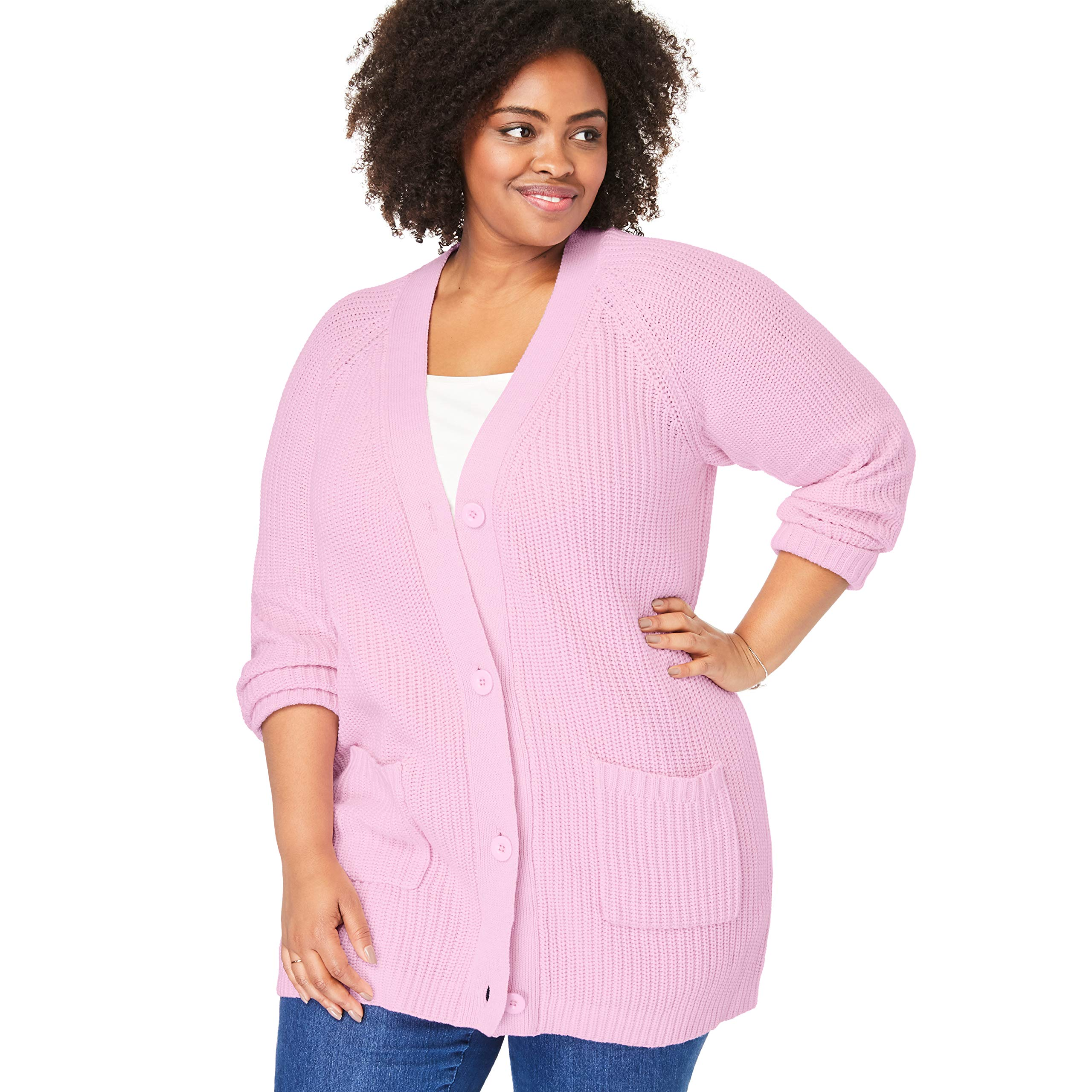 Woman Within Women's Plus Size Button Front Shaker Cardigan - Pink, 18/20 by Woman Within