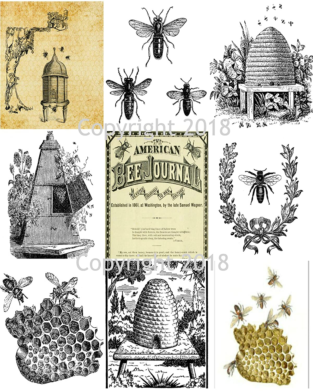 Printed Bees and Hives Collage Sheet 8.5 x 11 Printed Sheet Scrapbook and Card Making Supplies Autumn Cards Collage Sheet
