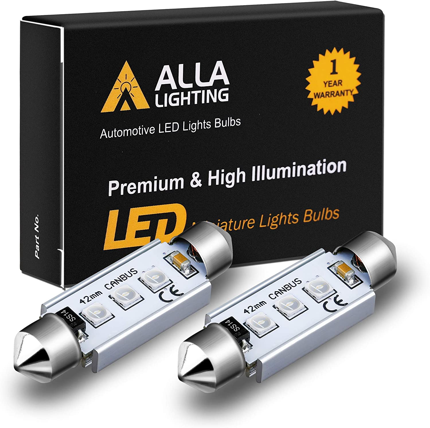 Alla Lighting CANBUS 211-2 578 LED Bulbs Super Bright 41mm 42mm Festoon 3030 SMD 212-2 569 6413 LED Lights Bulb for Interior Map, Dome, Trunk, Step Courtesy, License Plate Lights, Ultra Green