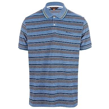 167c93e51 Ben Sherman Mens Mens Tonic Retro Sport Stripe Pique Polo Shirt In Blue -  3XL