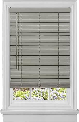 Achim Home Furnishings, Grey Cordless GII Madera Falsa 2 Faux Wood Plantation Blind 48 x 64