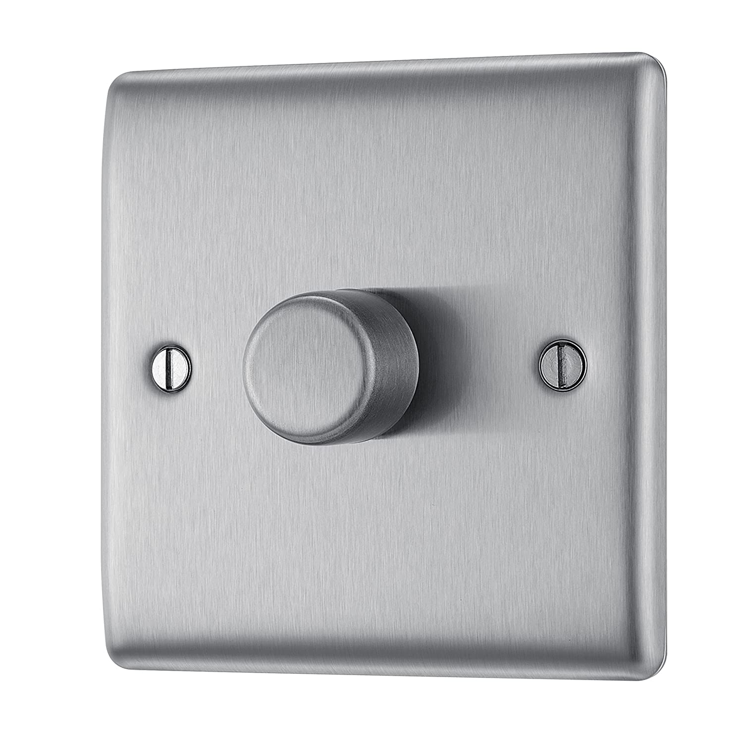 BG Electrical NBS81P 400W Single 2-Way Metal Brushed Steel Push On/ Off Dimmer Switch Nexus (Jiaxing) NBS81P-01