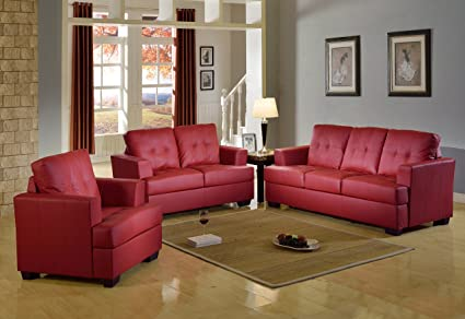 Beverly Furniture F16 3PC RD 3 Piece Contemporary Leather Living Room Sofa  Set,