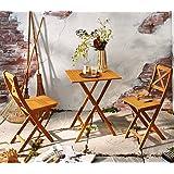 SAM® Conjunto para jardín, mueble de madera de acacia, 3 piezas, 1 mesa + 2 sillas, plegables y aceitadas