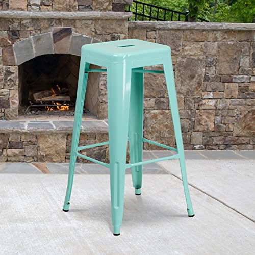 Flash Furniture Commercial Grade 4 Pack 30″ High Backless Mint Green Indoor-Outdoor Barstool