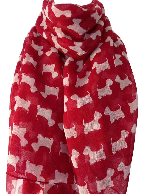 Purple Possum UK Damen Schal rot weiß West Highland Terrier Westie Hund Scottie Schal Wickeltuch Sarong