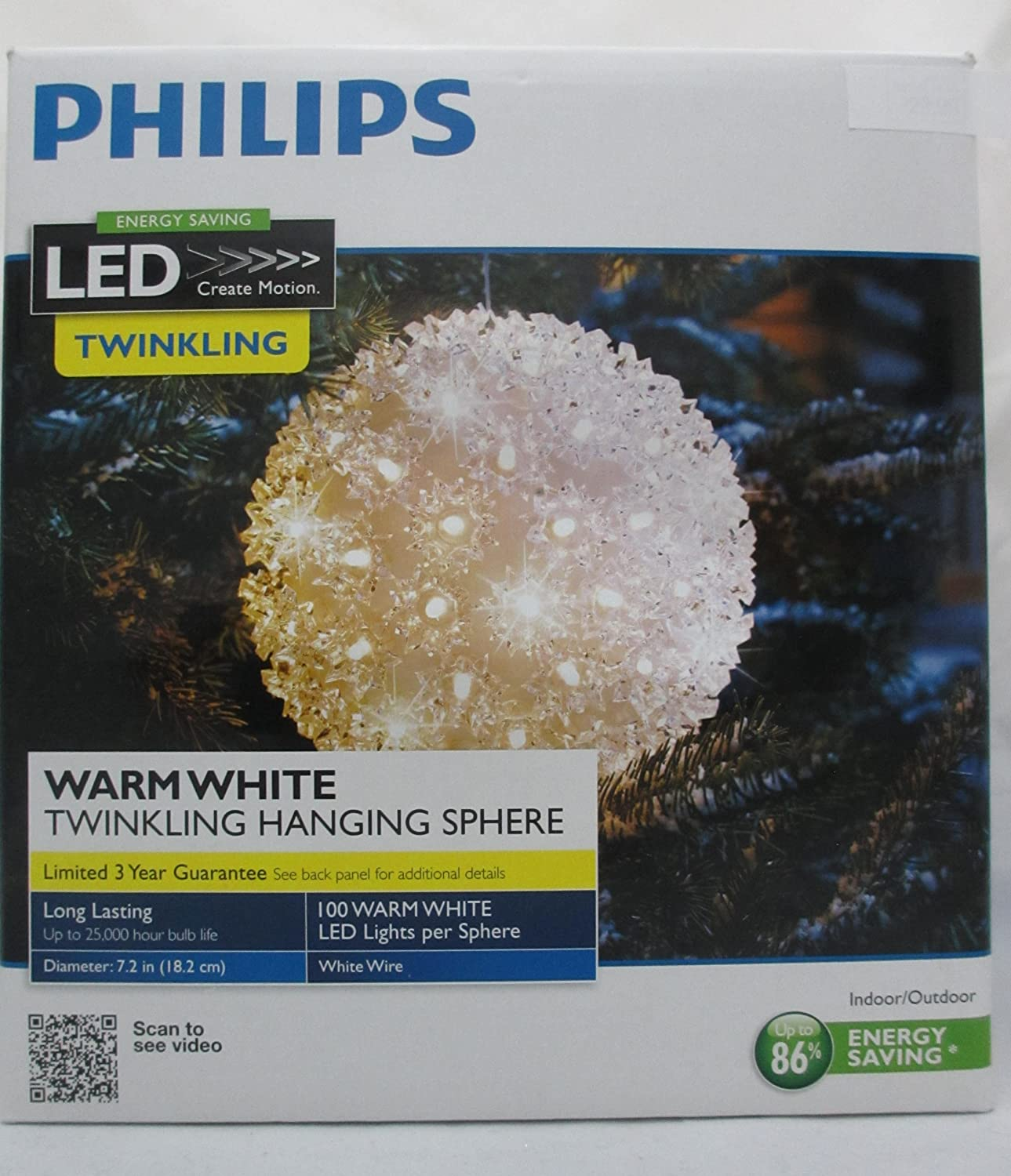 amazoncom philips 100 led energy saving warm white twinkling hanging sphere indoor outdoor christmas decoration large tree ornament holiday decorative