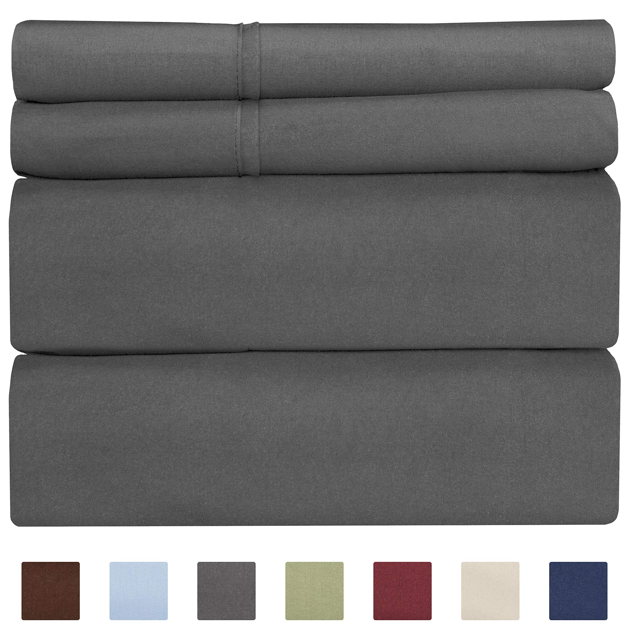 CGK Unlimited Cotton Sheets - Queen Size Bed Sheets - 400 Thread Count - 100% Cotton - Long Staple - Grey Sheets