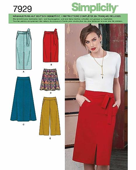 Simplicity 7929.r5 patrón de costura para falda y pantalón Rock ...