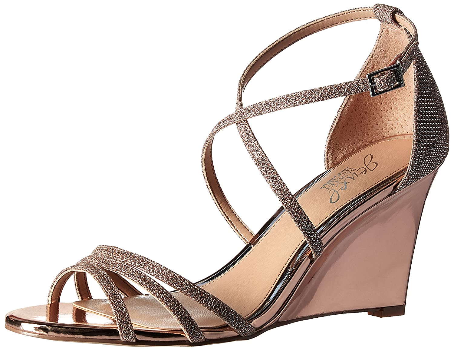 Badgley Mischka Jewel Women's Hunt Wedge Sandal B06Y3MR83R 9.5 B(M) US|Rose Gold