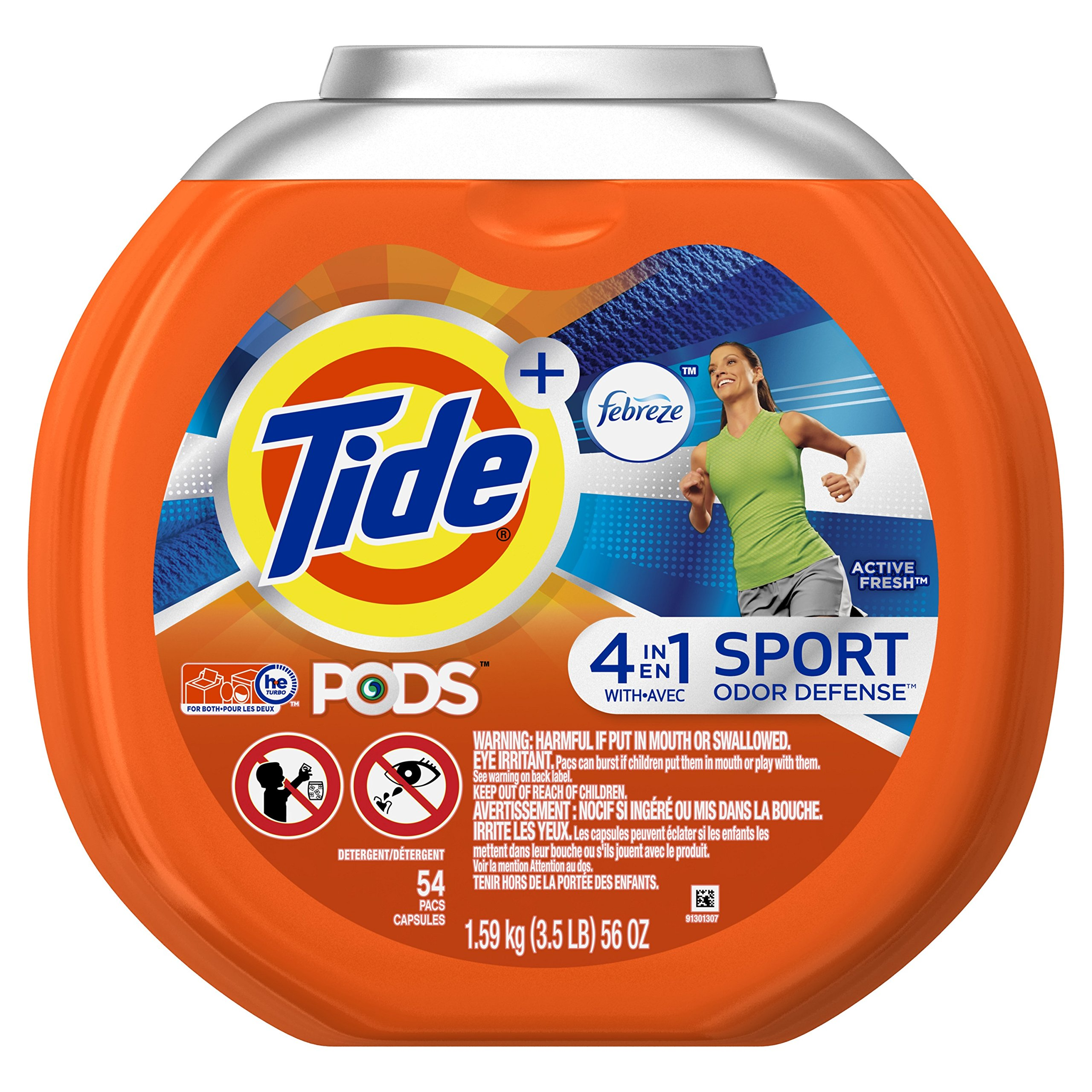 Tide PODS Plus Febreze Sport Odor Defense Laundry Pacs, Active Fresh Scent, 54 Count, Designed For Regular and HE Washers (Packaging May Vary) by Tide