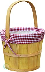 Vintiquewise(TM) Woodchip Bushel Basket with Red Ginghan Lining