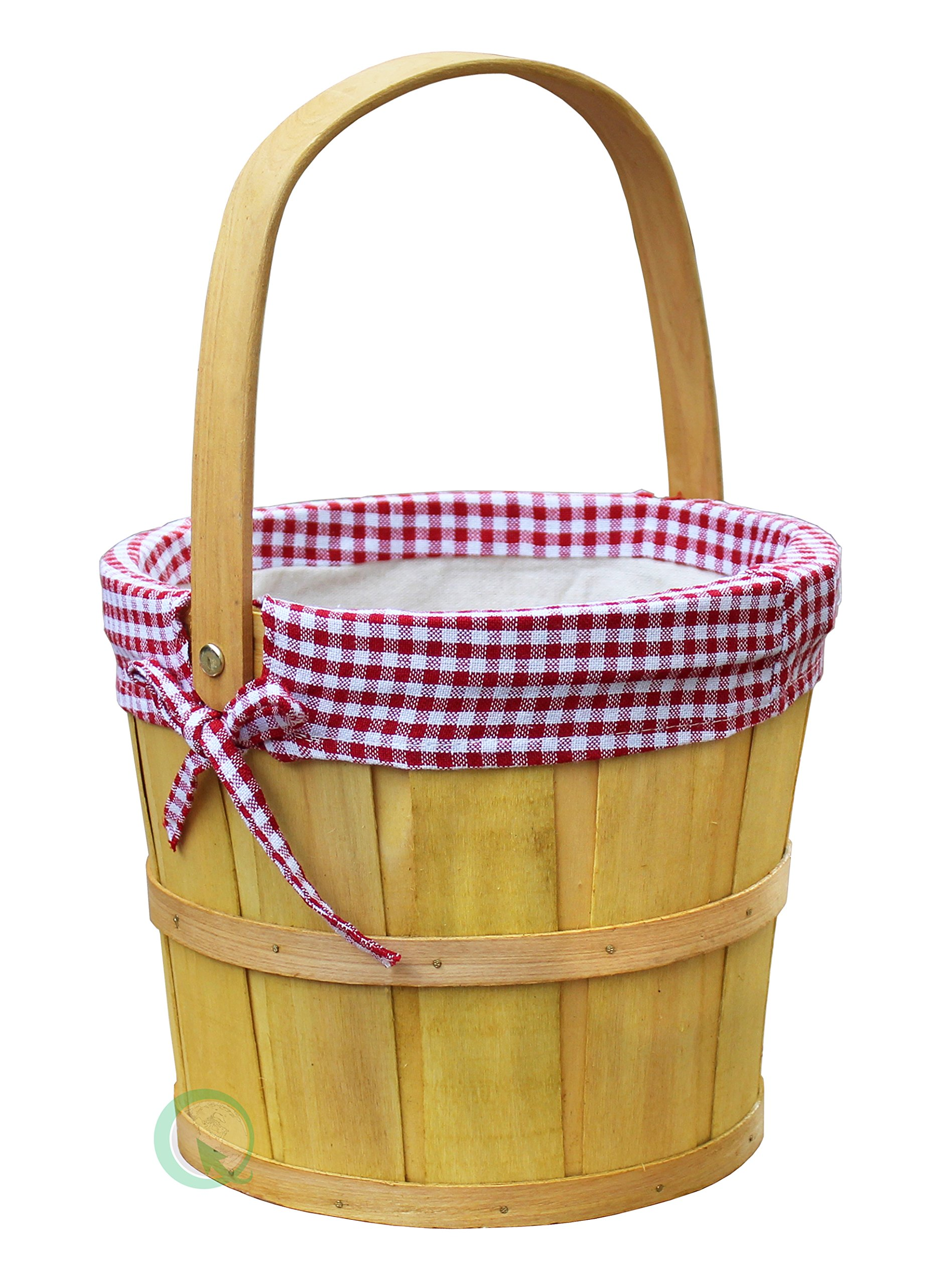 Vintiquewise(TM) Woodchip Bushel Basket with Red Ginghan Lining by Vintiquewise (Image #1)