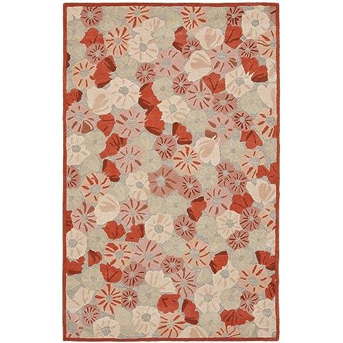 Safavieh Martha Stewart Collection MSR3625B Premium Wool and Viscose Poppy Field Cayenne Red Area Rug 5 x 8