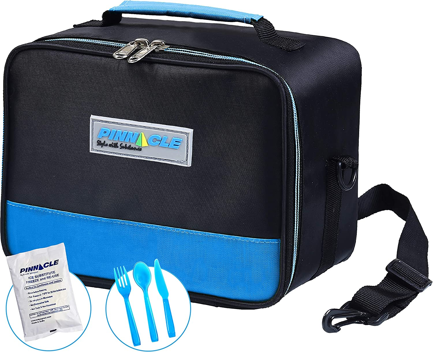 PINNACLE Insulated Reusable Lunch Box, Thermal Lunch Tote, For Adults and Kids - Lunch Bag With BONUS GEL ICE PACK And MATCHING CUTLERY - 2 Way Zipper - Blue