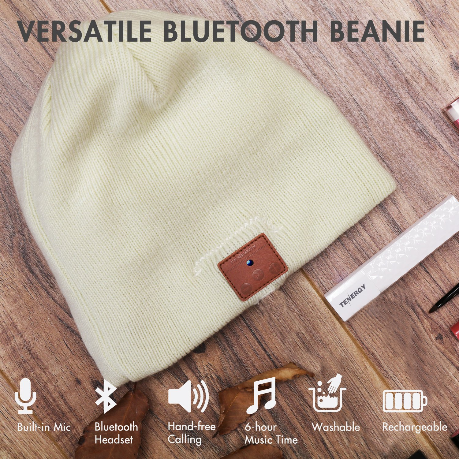 Amazon.com: Tenergy Wireless Bluetooth Beanie Hat with Detachable ...