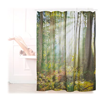 Relaxdays 10022618 Cortina Baño Lavable Con Estampado De Bosque, Verde, 180 X 180 Cm