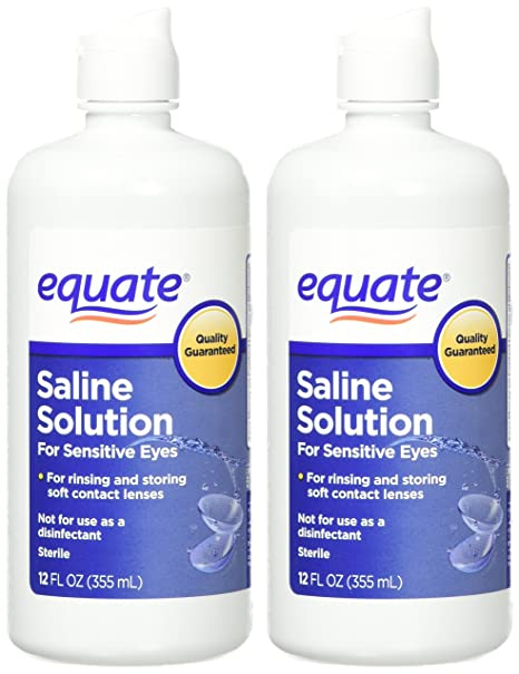 Amazon.com: Equate Contact Lens Saline Solution for Sensitive Eyes, Twin Pack, 12 Fl Oz, 24 Total Oz (Compare to Bausch & Lomb Eyes Plus): Health & Personal ...