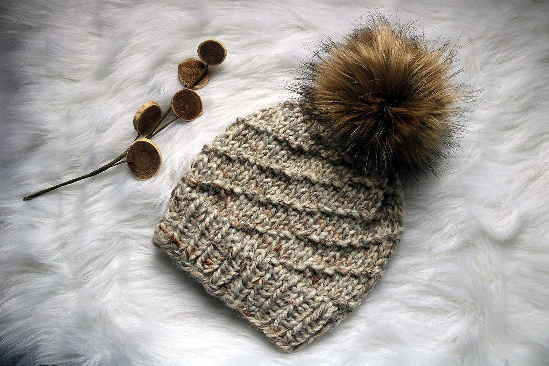 Adult Hand Knit Pom Pom Hat Faux Fur Pom