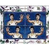Bruce Lee avec combat de main levée pose - Monnaie et neuf timbre feuillet