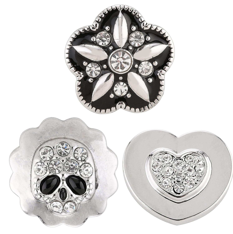 Lot boutons pression Morella click-button 3Tête de Mort, coeur et fleurs Tradict GmbH FK08.GJ10.GK08