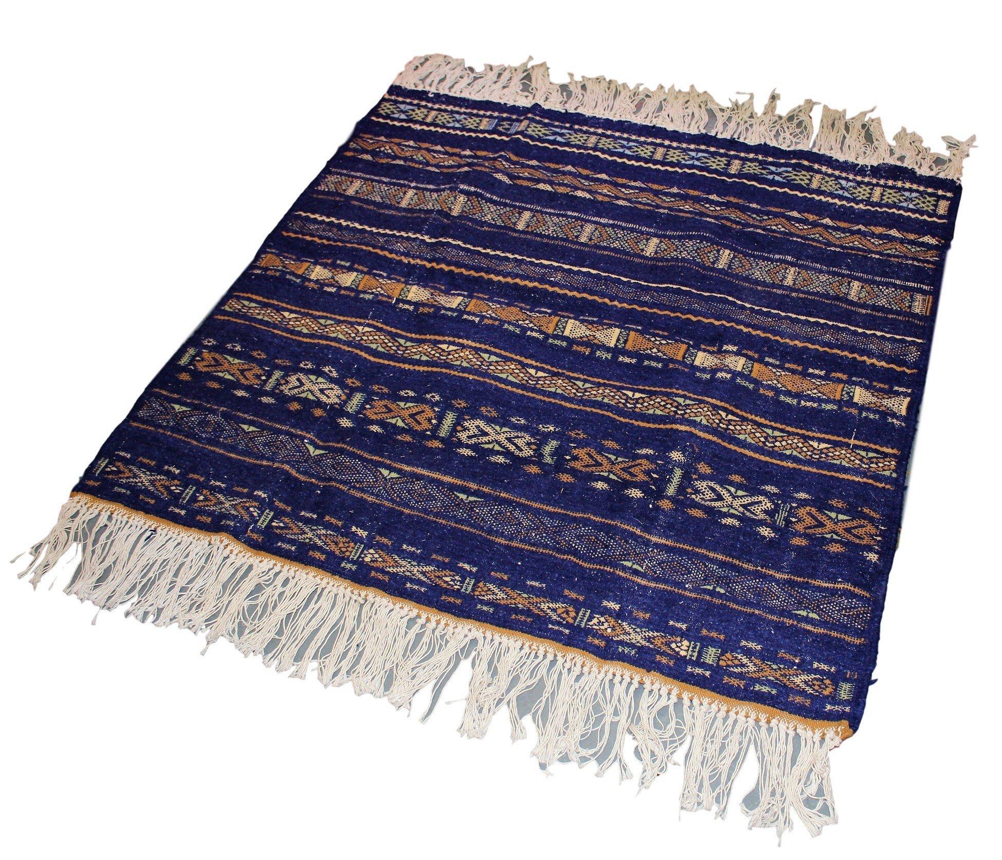 Authentic Moroccan Handmade Handwoven Kilim 100% Wool Rug