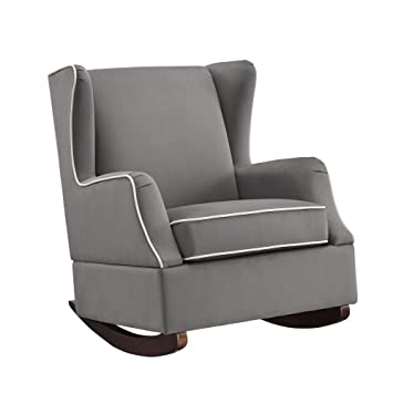 Style Of Baby Relax Hudson Upholstered Wingback Nursery Room Rocker Graphite Gray Lovely - Simple best nursery rocking chair For Your House